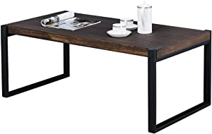 Grafzeal Retro Coffee Table, Industrial Modern Cocktail Table Wood and Metal Rectangular Sofa Accent Table Office Table, Wood Furniture for Living Room, Easy Assembly, Distressed Brown FKFZ55PT