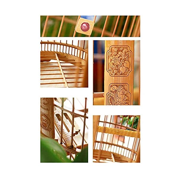 ZRZJBX Prevue Bird Cage/Medium Birdcage/Bird Cage Liner/Bird Cage Accessories/Made By Bamboo Sutiable For Small Birds/Easy To Clean,BrownB