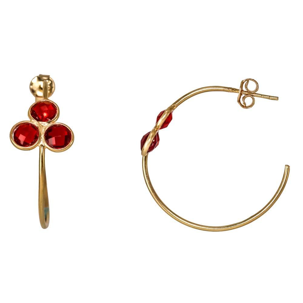 Screw Back Hoop Stud Earrings 925 Sterling Silver Earrings Garnet Quartz Earrings 18k Gold Plated Earrings Earrings