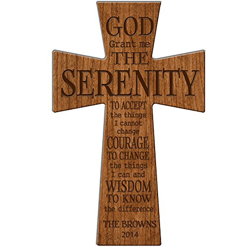 LifeSong Milestones Personalized Wedding Gift God Grant me the Serenity Prayer Personalized Wall Cross Made of Cherry Wood in USA Exclusively from