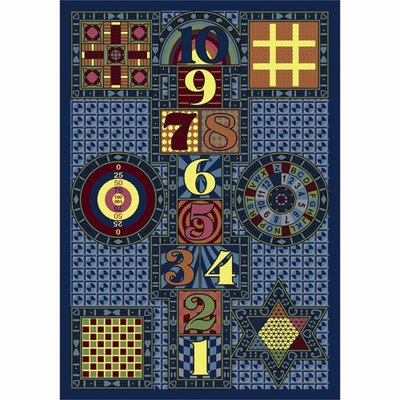 Joy Carpets Kid Essentials Active Play & Juvenile Games Galore Rug, Sapphire, 7'8