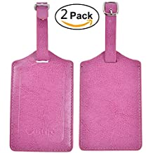 Outrip Leather Luggage Tags Travel Bags Tags 2 Pieces Set In 10 Colors(Pink)