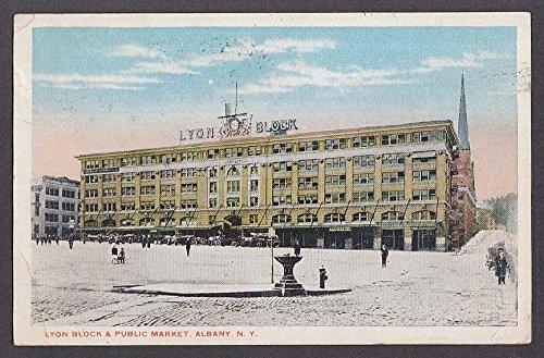 Lyon Block & Public Market Albany NY postcard 1920 - Lyons Ny Postcard