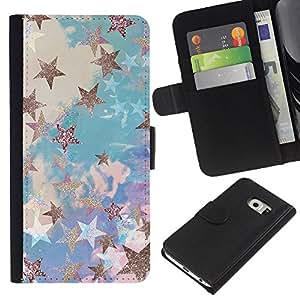 For Samsung Galaxy S6 EDGE Case , Blue Gold Painting Abstract Bling - la tarjeta de Crédito Slots PU Funda de cuero Monedero caso cubierta de piel