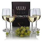 Dobaccio Crystal Clear Wine Glasses, White, Set of 4