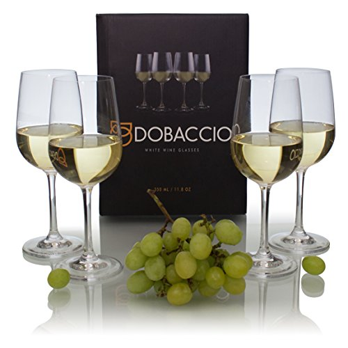 Glassware White Wine (Dobaccio White Wine Glasses - Finest Crystal Clear Glass Drinking Cups - Set of 4)