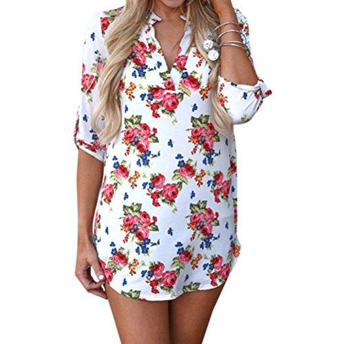 Lunghe shirt Con Out Sullo T Casual Classico Maniche Maglia Cut scollo V Scollo Fiore Monocolore Donna bianco 5nvBxgS