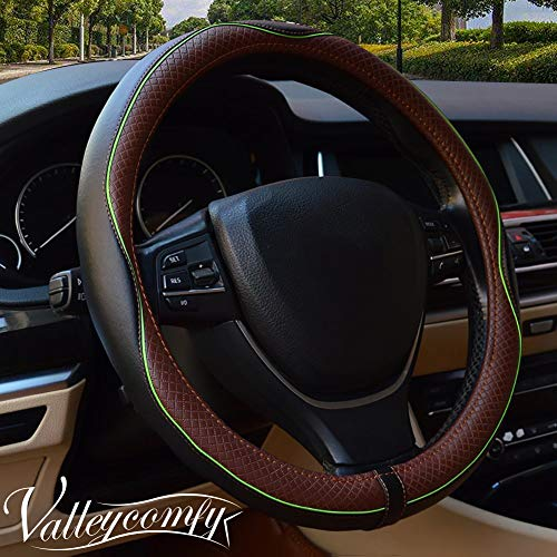 Valleycomfy Steering Wheel Covers Universal 15 inch - Genuine Leather, Breathable, Anti Slip & Odor Free (Black with Green Lines) ()