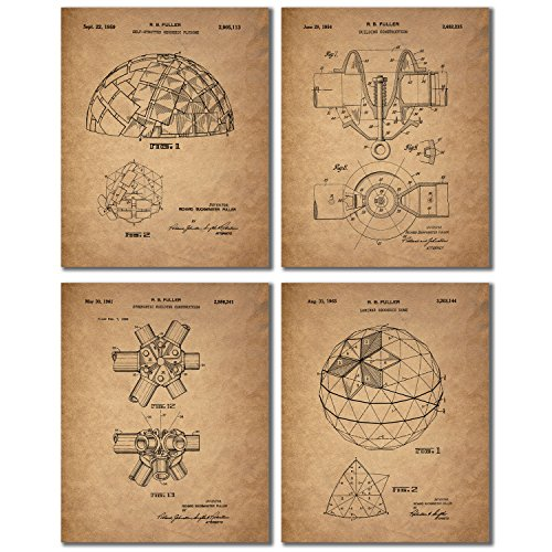 Buckminster Fuller Geodesic Dome Inventor Patent Wall Art Prints - Set of 4 Vintage Antique Photos