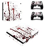 Chickwin PS4 Slim Vinyl Skin Full Body Cover Sticker Decal For Sony Playstation 4 Slim Console & 2 Dualshock Controller Skins (Blood Drops)