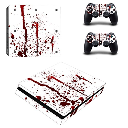 Chickwin PS4 Slim Vinyl Skin Full Body Cover Sticker Decal For Sony Playstation 4 Slim Console & 2 Dualshock Controller Skins (Blood - Jack Uk Wills Voucher