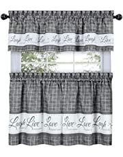 GoodGram Country Gingham Check Live~Laugh~Love 3 Pc. Café Plaid Kitchen Curtain Set - Assorted Colors & Sizes (Gray, 36 in. L)