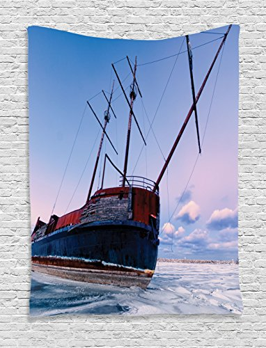 ocean-decor-tapestry-by-ambesonne-bent-ship-wreck-with-a-mast-in-ice-snow-frozen-lake-in-cold-winter