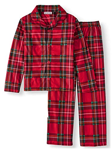 Komar Kids Boys Traditional Holiday Christmas Plaid Flannel Coat Style Pajamas Set (X-Small / 4-5, Boys Red)