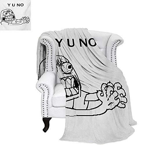 warmfamily Humor Summer Quilt Comforter Mascot Rage Guy Meme Face Figure with Big Eyes Full of Anger Hipster Smile Art Digital Printing Blanket 62
