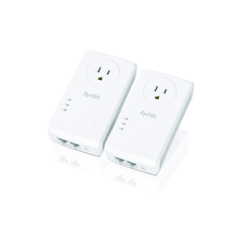 Zyxel Pass-Thru Ethernet Adapter AV2000 Powerline 2-port Gigabit 2-Pack [PLA5456KIT] by ZyXEL