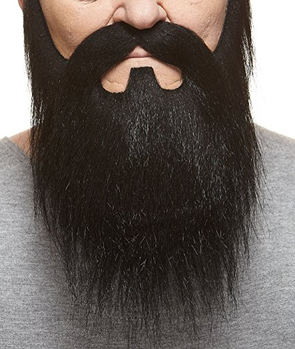 Lord black fake beard and mustache, self adhesive - Facial Hair Beard