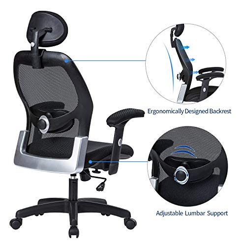 LIANFENG Ergonomic Office Chair, High Back Executive Swivel Computer Desk Chair with Adjustable Armrests and Headrest, Back Lumbar Support, Black by LIANFENG (Image #2)
