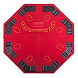 48'' 4 FOLD FOLDING PRO STYLE 8 PLAYERS OCTAGON POKER TABLE TOP VELVET TABLETOP BLACKJACK TEXAS HOLDEM GAME CHOICE WITH CARRYING CASE - RED
