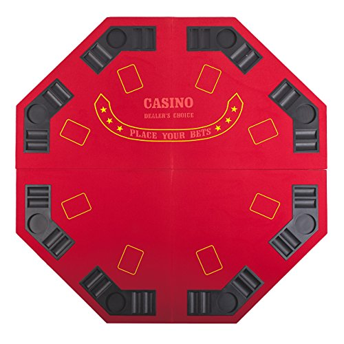 4 FOLD FOLDING PRO STYLE 8 PLAYERS 48'' OCTAGON POKER TABLE TOP VELVET TABLETOP BLACKJACK TEXAS HOLDEM GAME CHOICE WITH CARRYING CASE - RED by Pong-Buddy