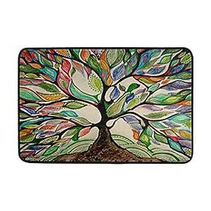 yochoice antideslizante Felpudo decoración para el hogar, arte colorido Árbol de la vida resistente interior al aire libre Entrada Felpudo 23,6x 15,7pulgadas