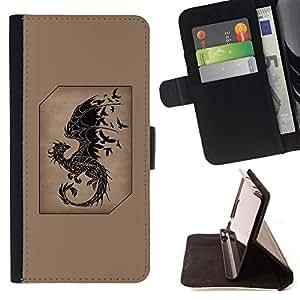 - Queen Pattern FOR Samsung Galaxy S4 IV I9500 /La identificaci????n del cr????dito ranuras para tarjetas tir????n de la caja Cartera de cuero cubie - dragon fairytale brown black