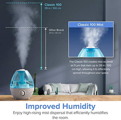 51w7VkskVVL. AC - LEVOIT Cool Mist Humidifiers For Bedroom, 2.4L Ultrasonic Air Vaporizer For Babies [BPA Free], 24dB Ultra Quiet, Optional Night Light, Filterless, 0.63gal, Blue