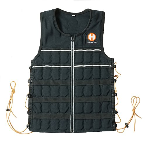 Hyperwear Hyper Vest Elite 20 lb adjustable unisex weight vest with durable Cordura fabric, reflective piping, adjustable side lacing and weights (Medium)