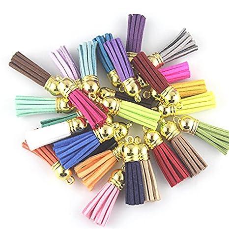 ROSENICE Borla Llavero Borlas de cuero Suede Tassel 4 CM para accesorios de bricolaje Artcraft 35 piezas