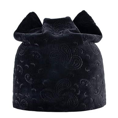 Women Cat Ear Knitted Beanies Hat Winter Outdoor Casua Hip-Pop Cap at  Amazon Women s Clothing store  c013f74edc8b