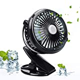 Battery Operated Clip on Desk Fan, Allkeys Mini USB Portable Fan for Baby Stroller, Car, Treadmill, Office, Home and Outdoor