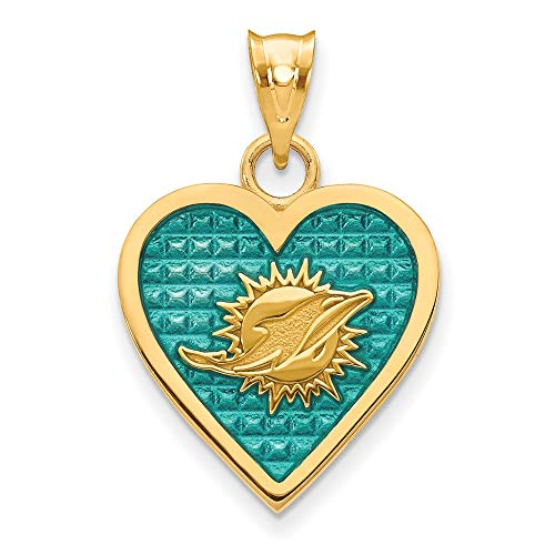 (Sterling Silver GP Miami Dolphins Enameled Heart)