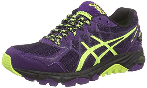 Asics Gel-fujitrabuco 4 G-tx, Damen Traillaufschuhe, Schwarz (black/flash Yellow/plum 9007), 42 EU