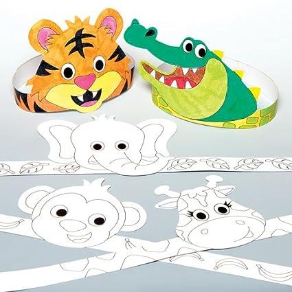 Baker Ross Coronas de animales de la selva para colorear que los ...
