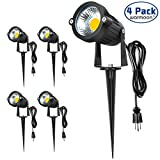 Warmoon Outdoor Landscape Lighting 5W Waterproof COB Graden Lights Led Spotlights with US 3- Plug 3200K Warm White Decorative Lamp Come with Spiked Stand For Lawn, Along Driveway Pathways (4 Packs)