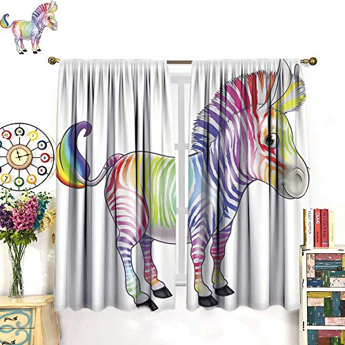 longbuyer Black Out Window Curtain Rainbow Zebra Drapes Panels W108 x L72