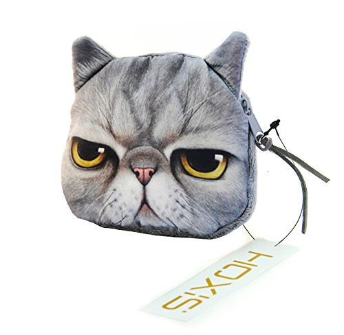Hoxis Lovely Cat Coin Zipper Purse(angry) / Cartoon Mini Cotton Wallet Novelty Design