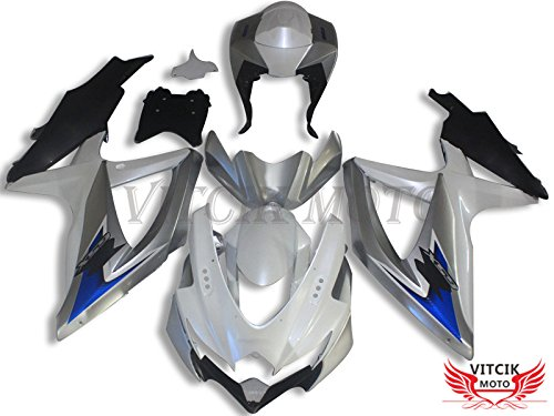 Gsxr750 Fairings (VITCIK (Fairing Kits Fit for Suzuki GSX-R750 GSX-R600 K8 2008 2009 2010 GSXR 600 750) Plastic ABS Injection Mold Complete Motorcycle Body Aftermarket Bodywork Frame (White & Silver) A076)