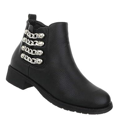 Damen Schuhe Stiefeletten Flache Stiefel Blockabsatz Ankle