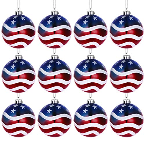 (LUOEM July of 4th Ball Hanging Independence Day Party Decor Patriotic Ball Ornaments Holiday Wedding Tree Decorations,Pack of 12)