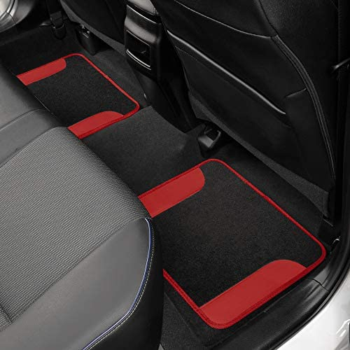 BDK Red Carpet Car Floor Mats – Two-Tone Faux Leather Automotive Floor Mats, Included Anti-Slip Features and Built-in Heel Pad, Stylish Floor Mats for Cars Truck Van SUV
