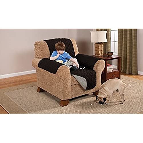 Deluxe Reversible Chair Furniture Protector, Black / Grey