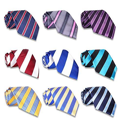 AVANTMEN 9 PCS Classic Men's Neckties Woven Jacquard Neck Ties Set (9 Pack-style D)