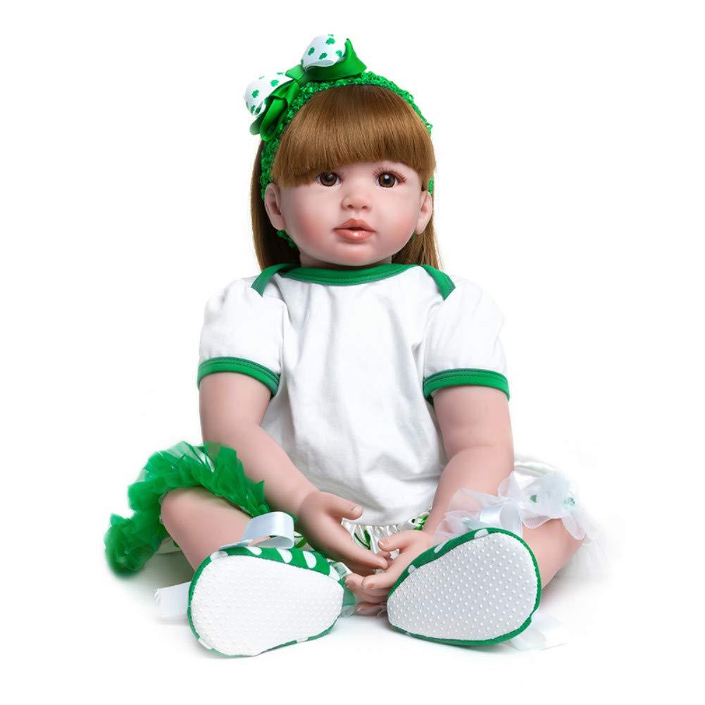 Minsong 60cm Weißhes Vinyl Silikon Leben Wie Reborn Baby Puppe Langes Haar Neugeborenen Puppen Braune Auge Gaze Rock (Grün)  Grün