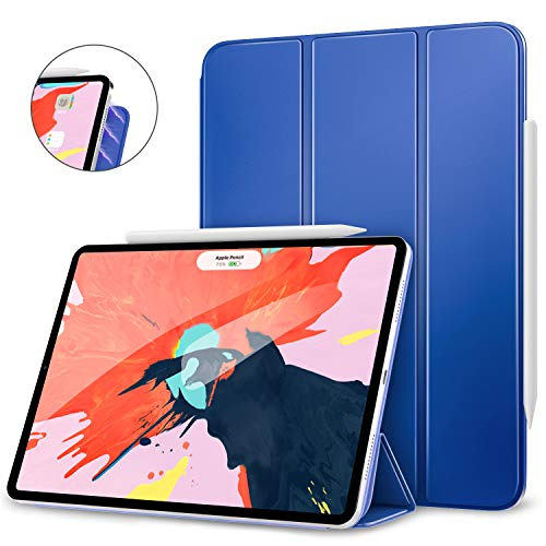 "MoKo Smart Folio Case Fit iPad Pro 12.9"" 2018 - [Support Magnetically Attach Charge/Pair] Slim Lightweight Smart Shell Stand Cover, Strong Magnetic Adsorption, Auto Wake/Sleep - Navy Blue"