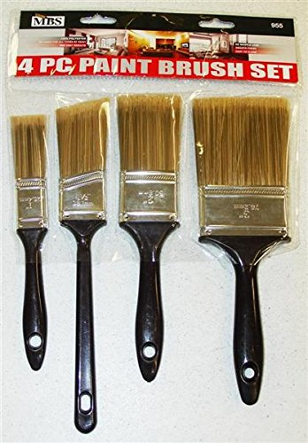 4-Pc Paint Brush Set, Polyester, Sizes: 1, 1.5 angled, 2, and 3, Washable and Reusable