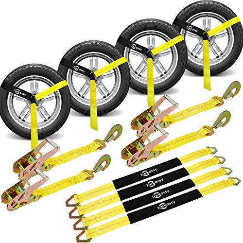(Trekassy Wheel Net Car Tie Down Straps Heavy Duty 4 Pack for Trailers with 4 Axle Straps and 4 Ratchet with Snap Hooks)