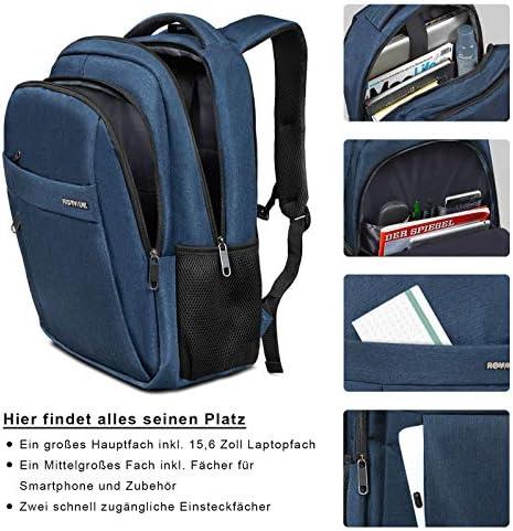 Mochila portátil ROYALZ para Hombre de 15.6 Pulgadas para Escuela de Negocios Uni Travel Hand Luggage Compartimiento para portátil Mochila para portátil, Color:Azul: Amazon.es: Equipaje