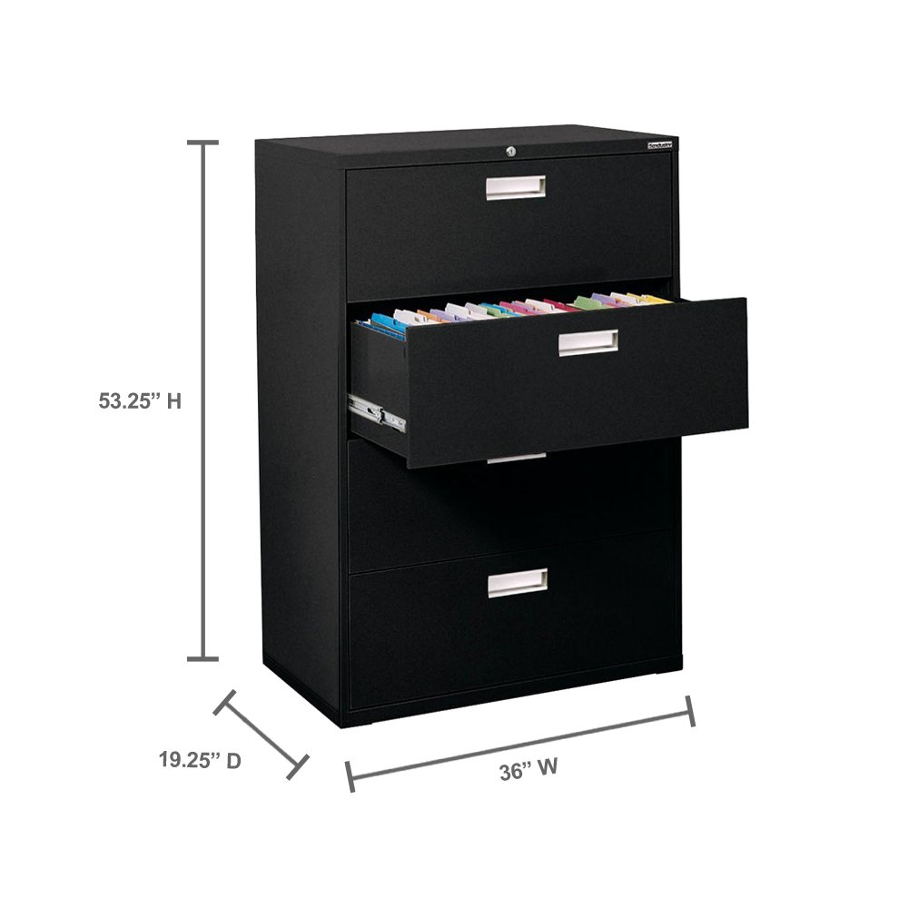 Sandusky Lee 600 Series Lateral File Steel 4-Drawer Cabinet - 36 Width x 53-1-4 Height x 19-1-4 Depth - Black