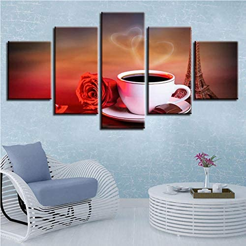 Clhhsy キャンバス壁アートポスター家の装飾現代5パネル花コーヒーリビングルームHdプリント絵画モジュラー写真フレーム-30X40Cmx2/30X60Cmx2/30X80Cmx1